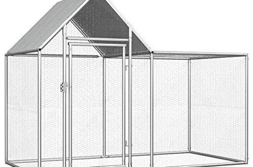 UnfadeMemory Huehnerstall Huehnerkaefig mit Wasserfestem Dach Verzinkter Stahl Freilaufgehege Hasenstall 500x330 - UnfadeMemory Hühnerstall Hühnerkäfig mit Wasserfestem Dach Verzinkter Stahl Freilaufgehege Hasenstall Hühnerhaus geeignet für Huhn, Henne, Ente, Gans usw. (#A- 2 x 1 x 1,5 m)