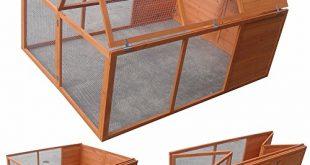 Melko Kleintierstall Klappbarer Hasenstall Freilaufgehege ca. 160 x 119 x 310x165 - Melko Kleintierstall Klappbarer Hasenstall Freilaufgehege ca. 160 x 119 x 60 cm, aus Holz, braun