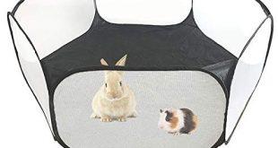 Amakunft Kleintierzelt, atmungsaktives & transparentes Haustierlaufgitter Pop Open Outdoor- / Indoor-Übungszaun, tragbarer Hofzaun für Meerschweinchen, Kaninchen, Hamster, Chinchillas